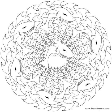 shark mandala coloring pages don t eat the paste shark mandala to color