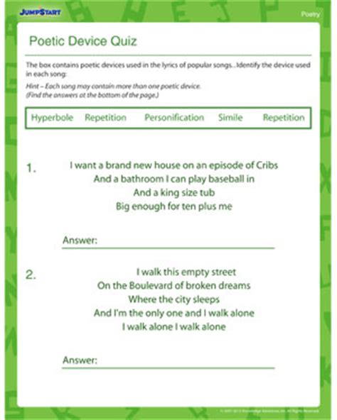 printable quiz on literary devices poetic devices worksheet free worksheets library