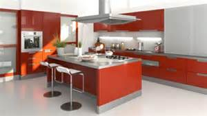 Awesome Comptoir Cuisine Pas Cher #7: Cocinas-con-isla-de-colores-rojo-600x338.jpg