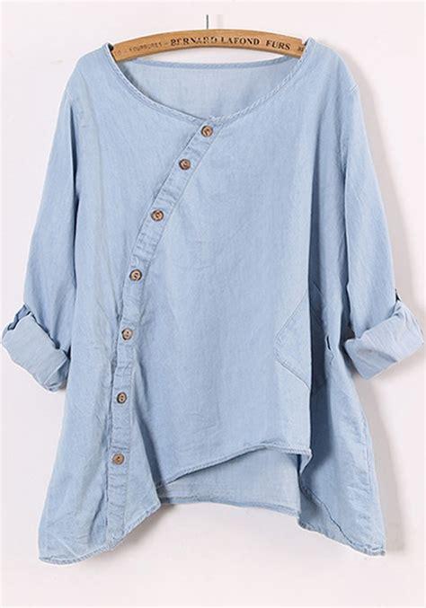 denim sleeve blouse blue neck sleeve denim blouse blouses