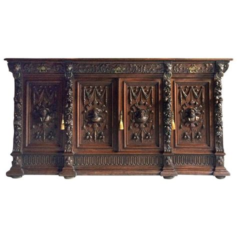 Antique Credenza Furniture antique flemish sideboard credenza oak buffet 19th century at 1stdibs