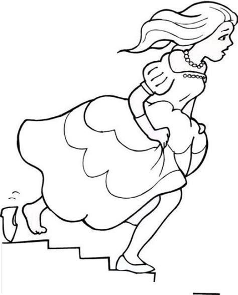dibujos infantiles zapatillas dibujo de cenicienta dejando su zapatilla para pintar y