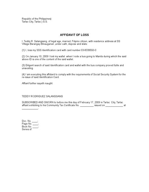 affidavit of loss sss id template affidavit of loss