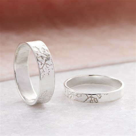 oak leaf wedding bands in sterling silver by fragment