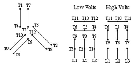 typical connection diagrams three phase motors 2 wye 12