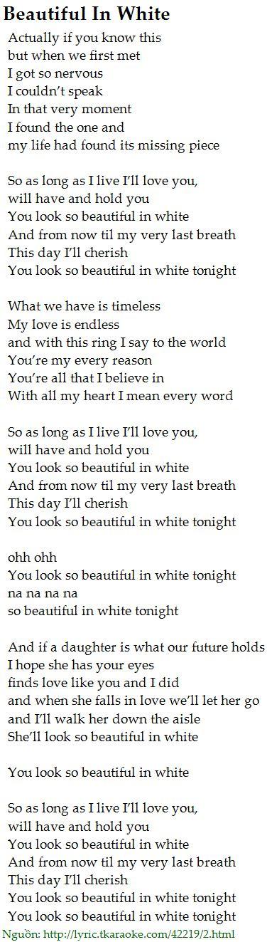 beautiful in white lyrics beautiful in white