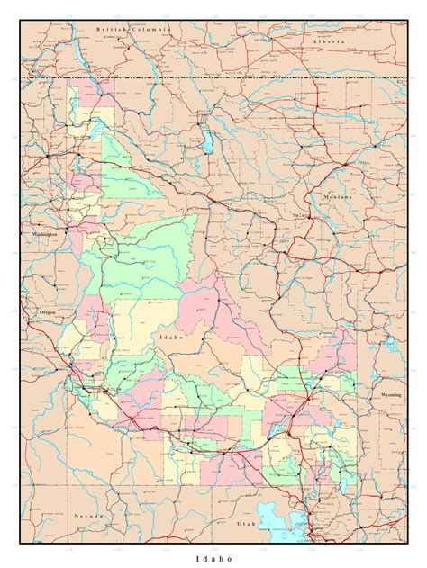 highway map of usa with states and cities large administrative map of idaho state with roads