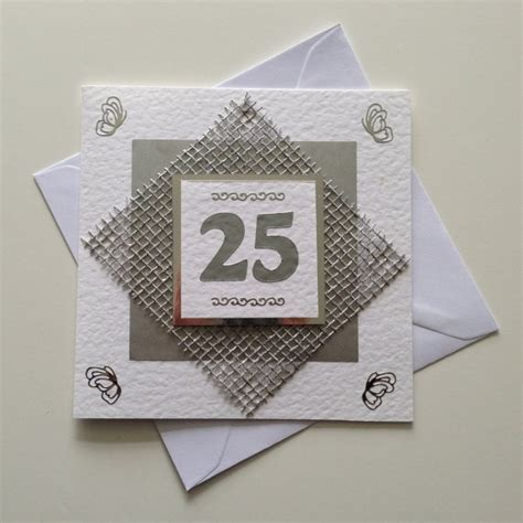 Handmade Silver Wedding Anniversary Cards - handmade 25th silver wedding anniversary card wedding
