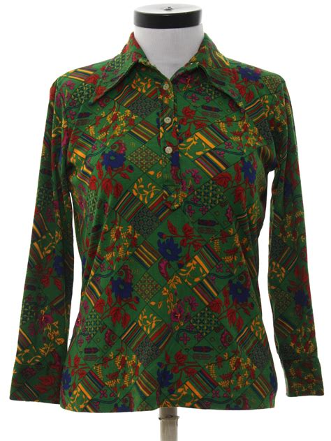 Shirt Import 7588 Retro vintage import 70 s hippie shirt 70s import womens green background slinky polyester button