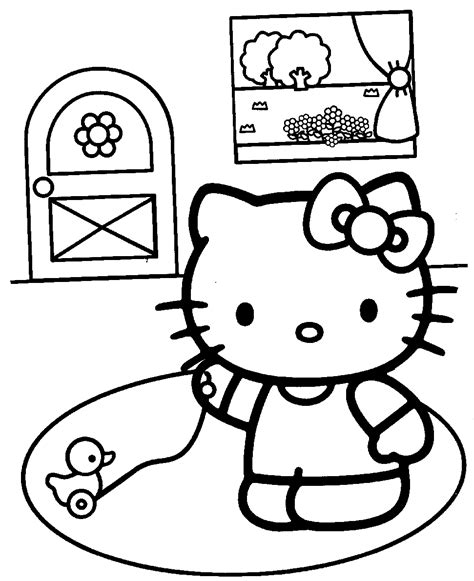 free coloring pages of hello kitty in the bath