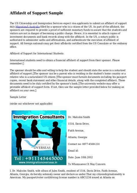 Support Letter Australian Visa Affidavit Of Support Sle