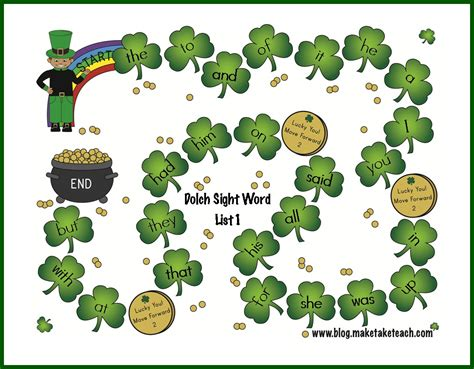 printable sight word board games st patrick s day sight word game boards make take teach
