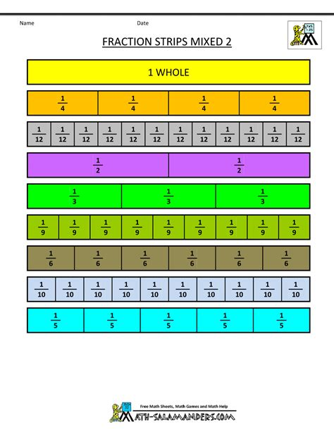 printable math worksheets fraction bars printable fraction strips