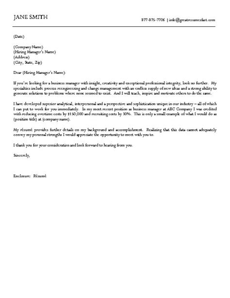 business cover letter business cover letter exle