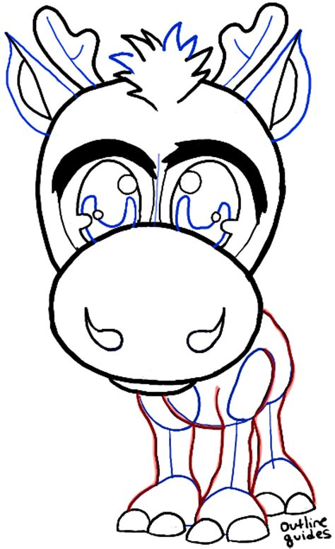 Sven Outline by How To Draw Baby Chibi Sven From Frozen In Easy Steps Drawing Tutorial How To Draw Step By