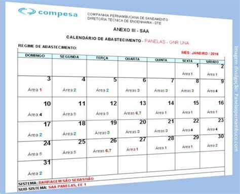 calend 225 de abastecimento de 225 gua de janeiro 2016 em