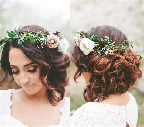 Bridal Hairstyles With Flowers by Floral Crown Wedding Updo Www Pixshark Images