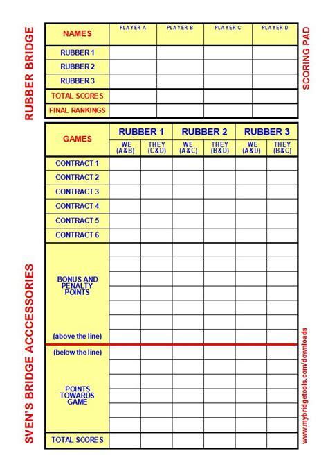 bridge score card template bridge score card template images template design ideas