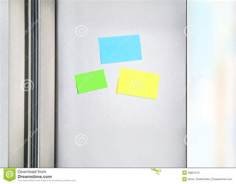 sticky notes   fridge stock photo image