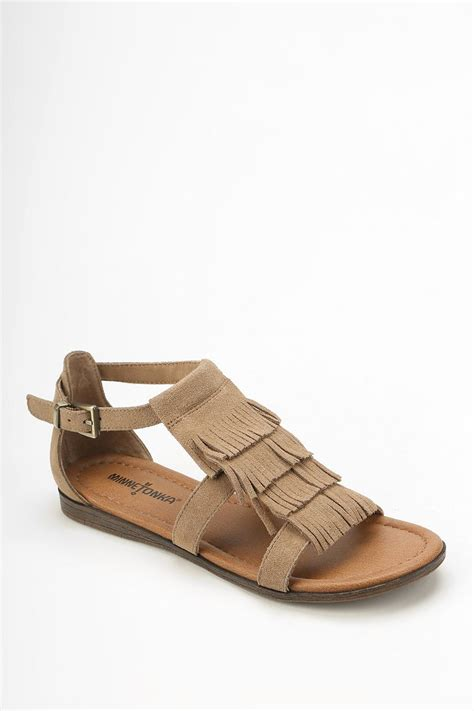 minnetonka sandal minnetonka fringe sandal in brown lyst