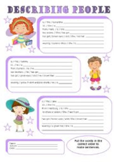 printable english worksheets for 9 year olds english teaching worksheets describing people