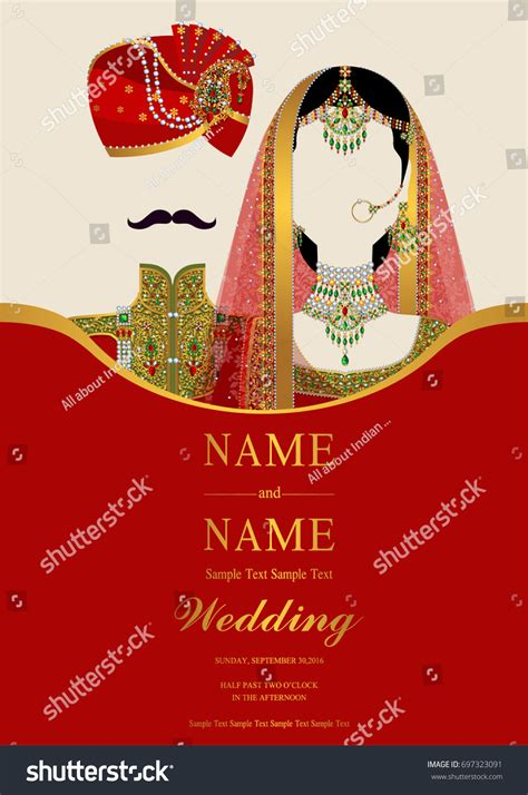 wedding invitation card templates indian stock vector