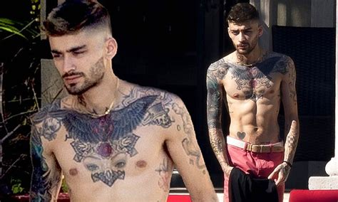 zayn tattoo chest shirtless zayn malik exhibits chest tattoo of ex gigi