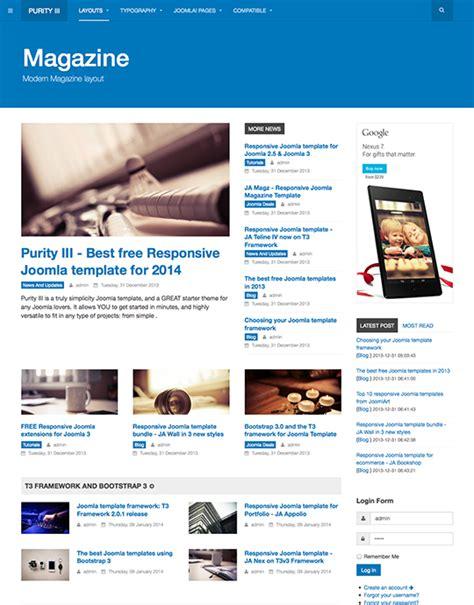 Purity Iii The Best Free Responsive Joomla Template Joomla Templates And Extensions Provider Joomla Magazine Template