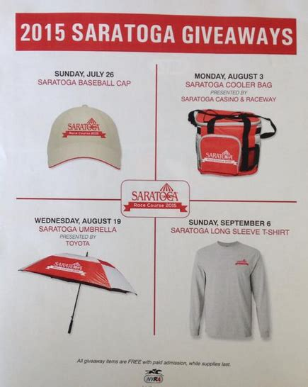 Track Giveaways - saratoga race course 2015 giveaways big change shopportunist