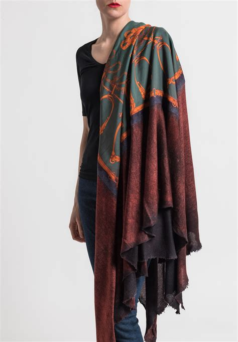 Jumbo Silk by Avant Toi Jumbo Felted Silk Saddle Stirrups Print Shawl