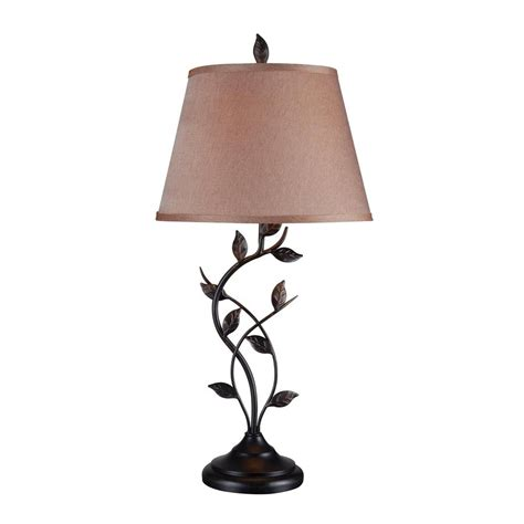 Night Stand Lamps by Shop Kenroy Home Ashlen 31 In Oil Rubbed Bronze Plug In 3 Way Table Lamp With Fabric Shade At