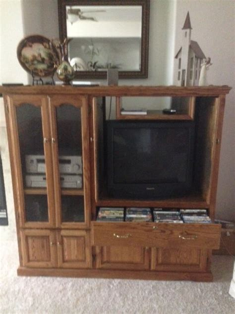Entertainment Centers With Glass Doors Beautiful Solid Oak Entertainment Center Sacramento 95829 250 Home And Furnitures Items