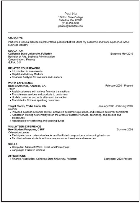 part time resume sle career center csuf