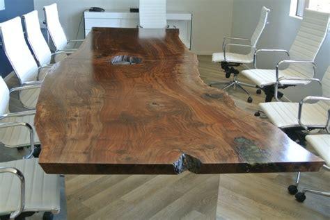custom  claro walnut slab conference table salvaging