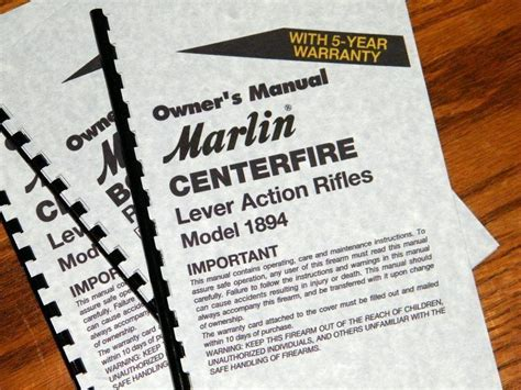 Marlin Model 1894 Lever Action Rifle Owners Manual Ebay
