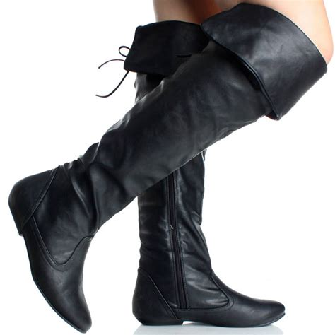 black faux leather cuff slouchy womens flat the knee