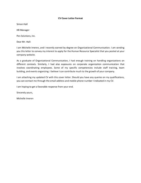 resume letter format doc coverletter sles coverletters and resume templates