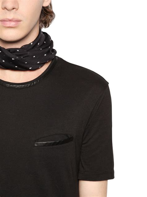 Cole T Shirt La Universal Abu Abu the kooples cotton jersey t shirt w leather details in black for lyst