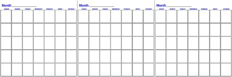 three month planning calendar template three month calander calendar template 2016