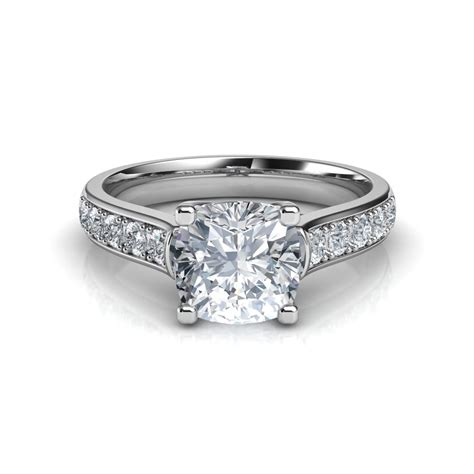 cross prong cushion cut engagement ring