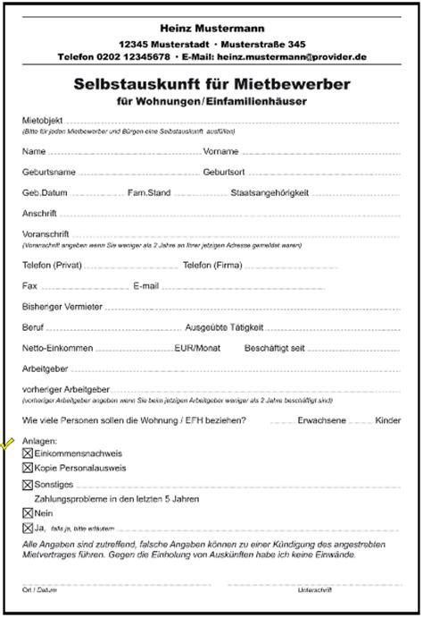 wohnung formular selbstauskunft f 252 r mietbewerber wohnung formulare gratis