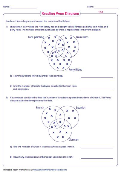 venn diagram problems with answers venn diagram word problems worksheets three sets