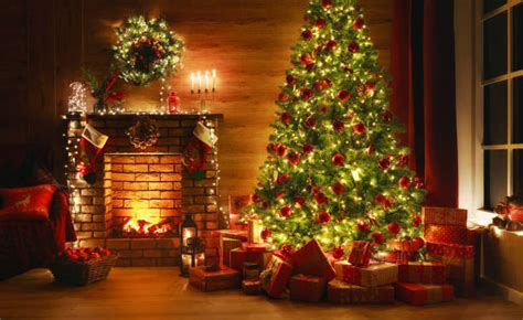 christmas fireplace stock  pictures royalty