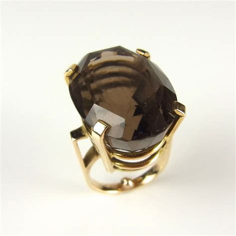 14 ct yellow gold smoky quartz cocktail ring