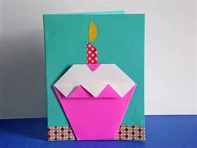 Origami Cupcake - easy diy origami cupcake birthday card