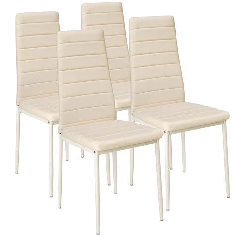 Leather Dining Table Chairs 4 Modern Dining Chairs Dining Room Chair Table Faux Leather Furniture Cozy Beige Ebay