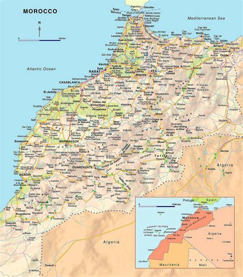 physical map of morocco marokko stra 223 enkarte