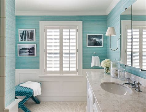 cottage bathroom with turquoise grasscloth and wainscoting