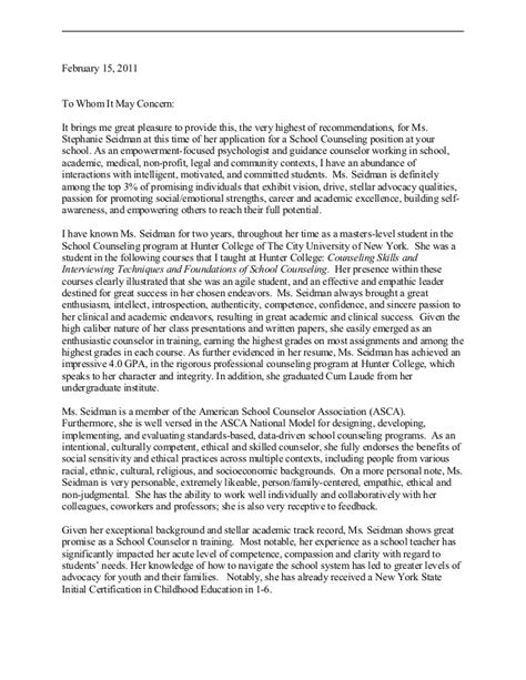 College Letter Of Recommendation From Counselor School Counselor Letter Of Rec Dr Connor