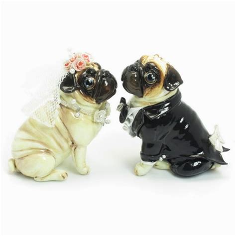 pug cake topper pug wedding cake topper fawn pug pink white color figurine statue madamepomm on artfire